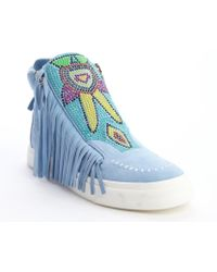 Giuseppe Zanotti Light Blue Suede Tassel And Beaded Detail High Top Sneakers - Lyst