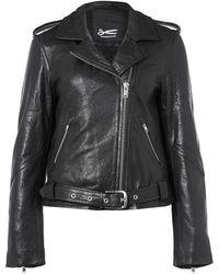 Denham - Black Classic Leather Biker Jacket - Lyst
