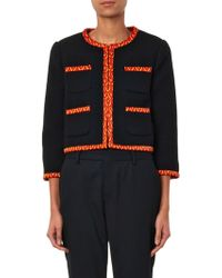 Moschino Contrast-trim Wool-crepe Jacket - Lyst