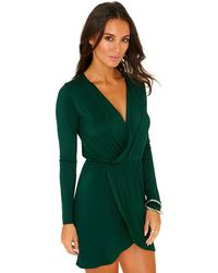 Missguided Milena Jersey Cross Over Wrap Dress in Deep Green - Lyst