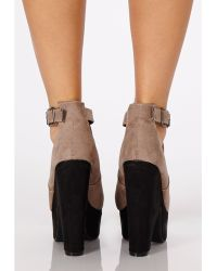 Missguided - Sahia Faux Suede Contrast Platform Wedges in Taupe - Lyst