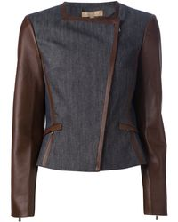 Michael Kors Blue Fitted Jacket - Lyst