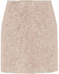 Lover Courtney Guipure Lace and Crepe Skirt - Lyst