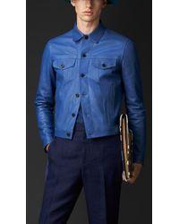 Burberry Engineered Leather Jacket - Lyst