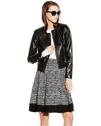 Vince Camuto Yoke Seam Leather Jacket - Lyst
