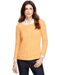Brooks Brothers Cashmere Cable Boatneck Sweater - Lyst