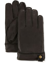 Neiman Marcus - Snap-tab Leather Gloves - Lyst