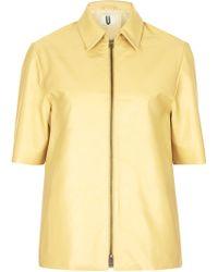 Topshop Short Sleeve Leather Jacket  - Lyst