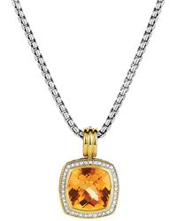 David Yurman Albion Pendant with Citrine Diamonds Gold - Lyst