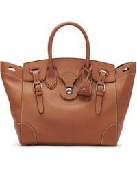 Ralph Lauren Saddle Ricky Bag gold - Lyst