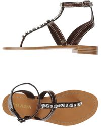 Prada Thong Sandal brown - Lyst