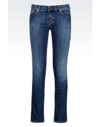 Armani Jeans Medium Light Wash Used Effect Push Up Jeans - Lyst