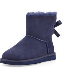 Ugg Mini Bailey Bowback Boot Navy - Lyst