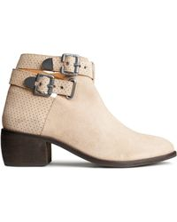 H&M Beige Leather Boots - Lyst