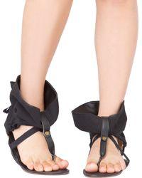 Akira Black Label - Ankle Wrap Black Flat Thong Sandals - Lyst