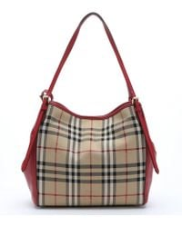 Burberry Honey Check Canvas And Red Leather 'Canterbury' Small Tote Bag - Lyst