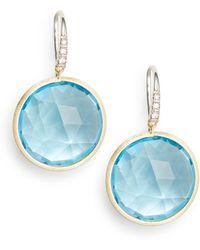 Marco Bicego - Diamond, Blue Topaz & 18k Yellow Gold Earrings - Lyst