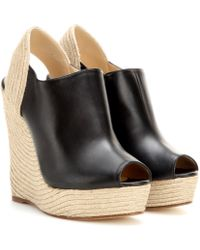 Gucci Leather And Raffia Wedge Sandals - Lyst