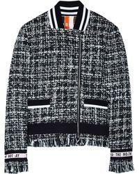MSGM Biker Tweed Jacket - Lyst