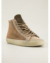 Leather Crown Panelled Hitop Sneakers - Lyst