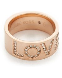 Michael Kors | Love Band Ring - Rose Gold/clear | Lyst
