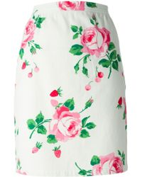 Emanuel Ungaro Rose Print Pencil Skirt - Lyst