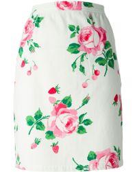 Emanuel Ungaro Rose Print Pencil Skirt - Lyst