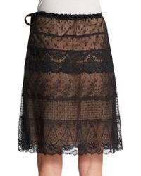 Valentino Ribbon-accent Lace Skirt - Lyst