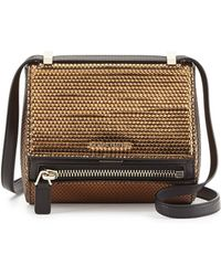 Givenchy Pandora Metallic Woven Faux-leather Mini Satchel - Lyst