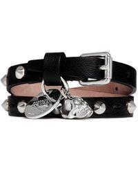 Alexander McQueen Skull Charm Double Wrap Stud Leather Bracelet black - Lyst