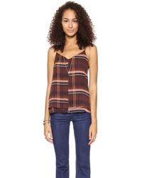 MiH Jeans The Vashon Camisole Sheer Check Redrum - Lyst