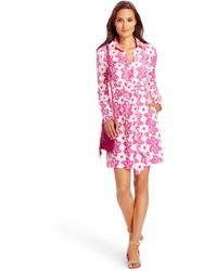 Diane von Furstenberg Dvf Taffy Silk Shirt Dress pink - Lyst