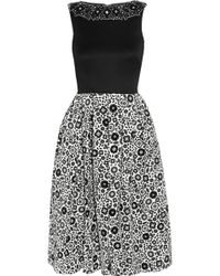 Holly Fulton | Embellished Wool And Printed Silk-Crepe Dress | Lyst