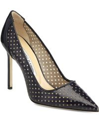 Manolo Blahnik Bb Perforated Patent Leather  Mesh Pumps - Lyst