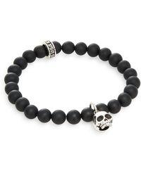 King Baby Studio Black Onyx & Sterling Silver Beaded Skull Charm Bracelet black - Lyst