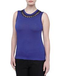 Carolina Herrera Medallion Lace-neck Shell - Lyst