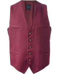 Tagliatore Red V-Neck Gilet - Lyst