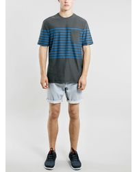 Topman Blue and Black Stripe Tshirt - Lyst