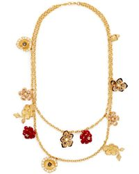 Alexander McQueen Double Strand Crystal Flower Charm Necklace - Lyst