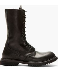 Rick Owens Black Leather Zip_up Army Boot - Lyst