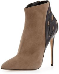 Alejandro Ingelmo Woven-Back Pointy Bootie brown - Lyst