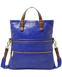 Fossil Explorer Leather Tote blue - Lyst