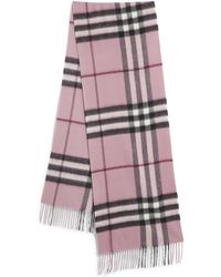 Burberry | Giant Pink Heather Check Cashmere Scarf | Lyst