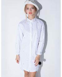 Pixie Market White Pearl And Diamond Stud Shirt Dress white - Lyst