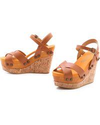 Flogg - Lexi Cork Wedge Sandals Luggage - Lyst