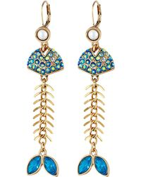 Betsey Johnson Into The Blue Bonefish Linear Earrings blue - Lyst