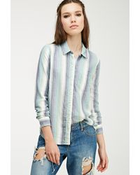 Forever 21 Multi-Striped Flannel Shirt - Lyst