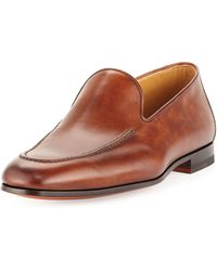 Magnanni For Neiman Marcus Leather Aprontoe Loafer Cognac - Lyst