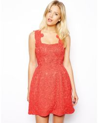 Asos Structured Lace Prom Dress - Lyst