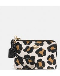 Coach Small Lzip Wristlet in Ocelot Embossed Leather - Lyst